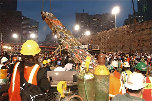 9/11 WTC Ground Zero Removing the Last Beam Photo Print for Sale
