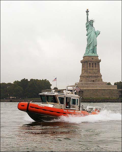 US Coast Guard Boat & Statue of Liberty NYC Photo Print for Sale