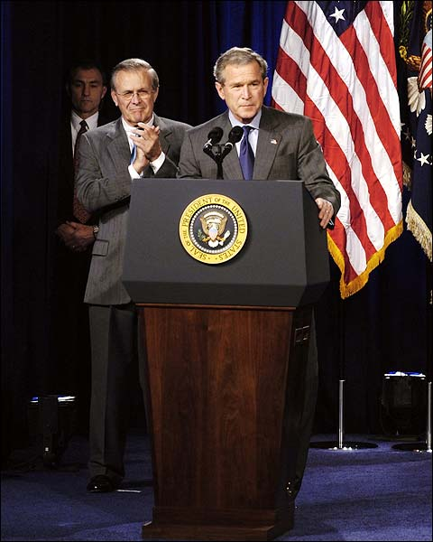President George W Bush & Donald Rumsfeld Photo Print for Sale