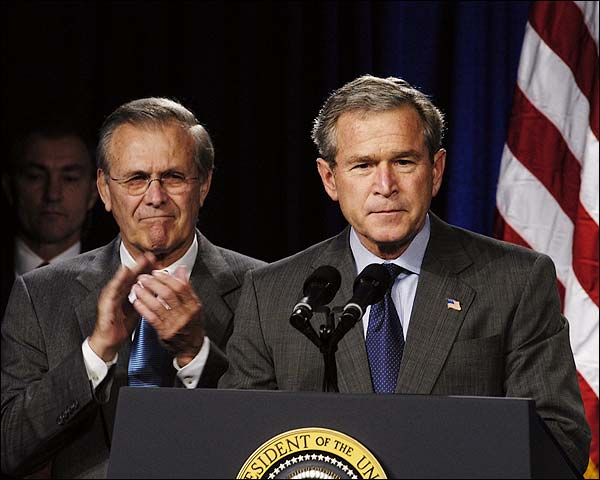 George W Bush & Donald Rumsfeld Photo Print for Sale