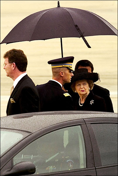 Margaret Thatcher at Andrews Air Force Base Photo Print for Sale
