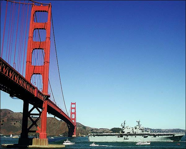 USS Tarawa LHA 1 & Golden Gate Bridge CA Photo Print for Sale