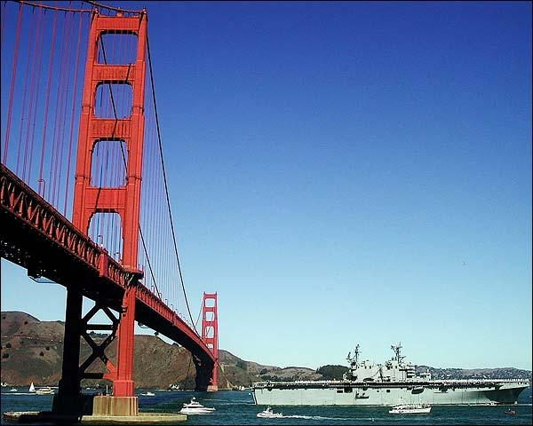 USS Tarawa LHA 1 & Golden Gate Bridge CA Photo Print for Sale