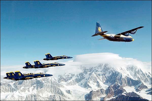Blue Angels & Marine Corps C-130 Hercules Photo Print for Sale