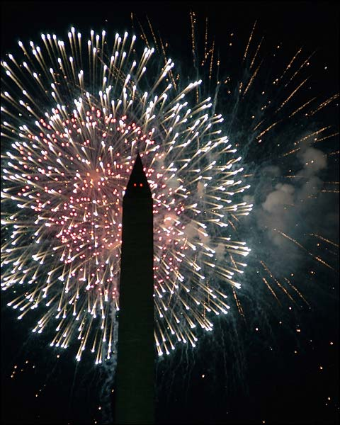 Washington Monument July 4th Fireworks in Washington D.C. Photo Print for Sale