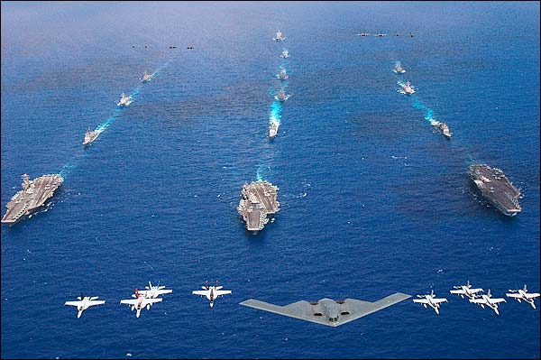 B-2 Bomber & Aircraft Carriers in Exercise Valiant Shield Photo Print for Sale