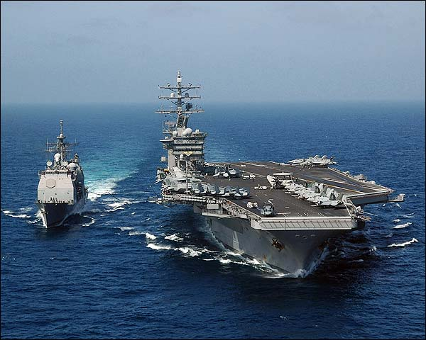USS Dwight D. Eisenhower Fueling at Sea Photo Print for Sale
