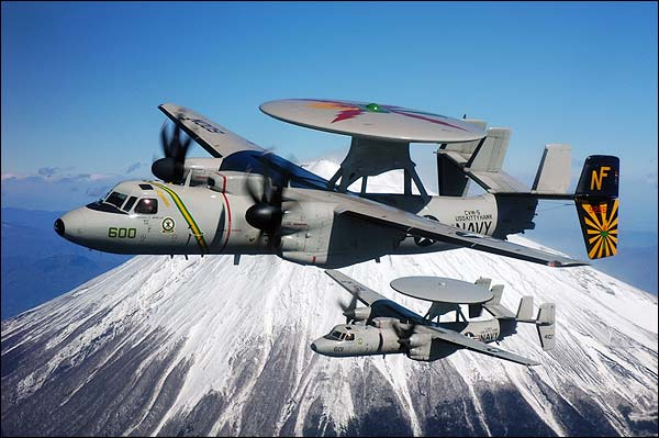 U.S. Navy E-2C Hawkeye Aircraft at Mount Fuji Photo Print for Sale