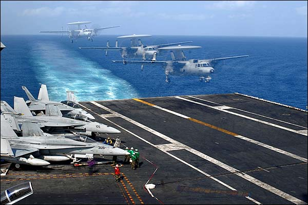 E-2C Hawkeye Landing on USS John C. Stennis Photo Print for Sale