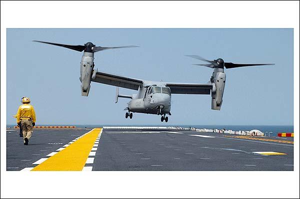 MV-22 Osprey Lands on USS Nassau  Photo Print for Sale