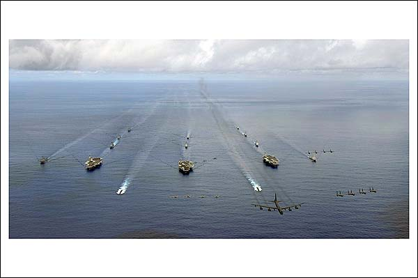 Aircraft Carrier Strike Groups in Exercise Valiant Shield Photo Print for Sale