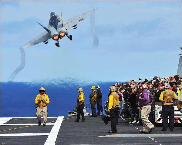 F/A-18C Hornet Launches From USS Abraham Lincoln Photo Print for Sale