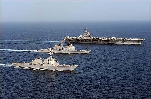 Three U.S. Navy Ships in Arabian Sea Photo Print for Sale