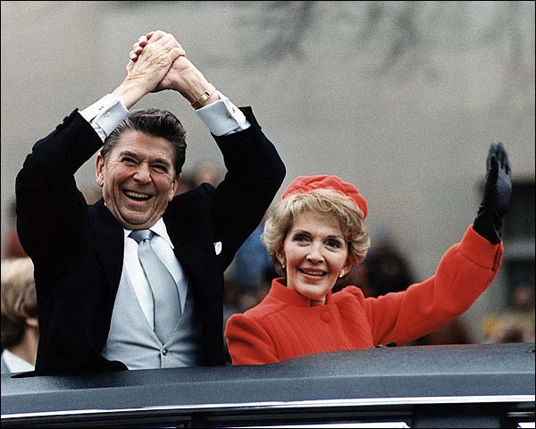 Reagans Wave from Limo on Inauguration Day 1981 Photo Print for Sale