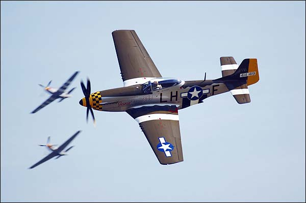 P-51 Mustang WWII Aircraft Janie in Flight Photo Print for Sale