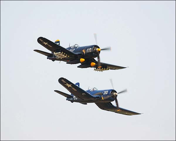 Vought F4U Corsair WWII Aircraft Pair Photo Print for Sale