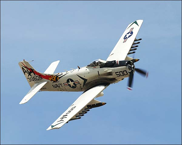 A-1 Skyraider Aircraft Banking Photo Print for Sale