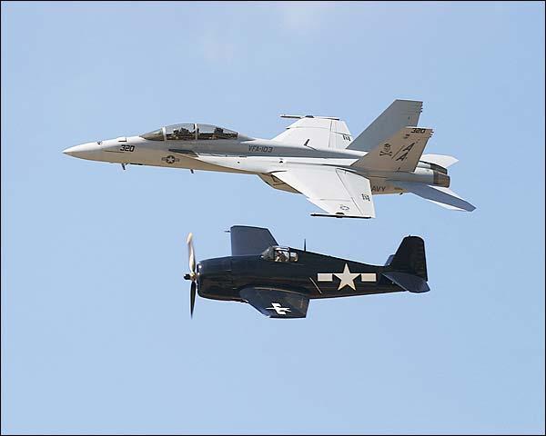 F-18 Hornet & F6F Hellcat Photo Print for Sale