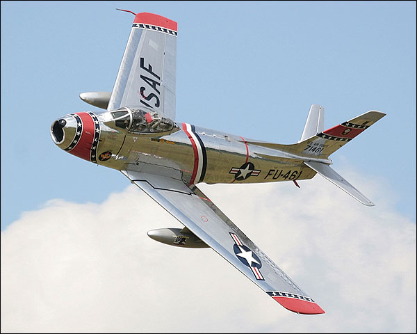 F-86 Sabre Fighter Jet Banking Photo Print for Sale