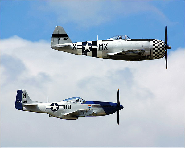 P-47 Thunderbolt & P-51 Mustang Fighters Photo Print for Sale