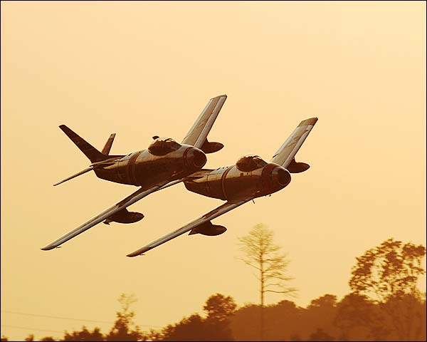 F-86 Sabre Jet Pair at Twilight Photo Print for Sale