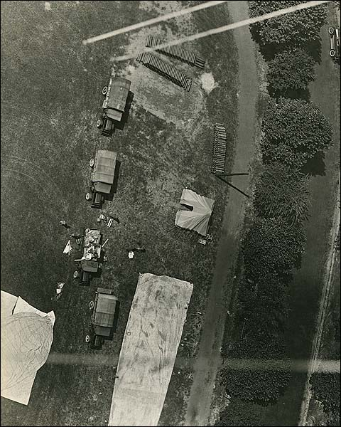 WWI Era Aerial View of Military Trucks and Tents Photo Print for Sale