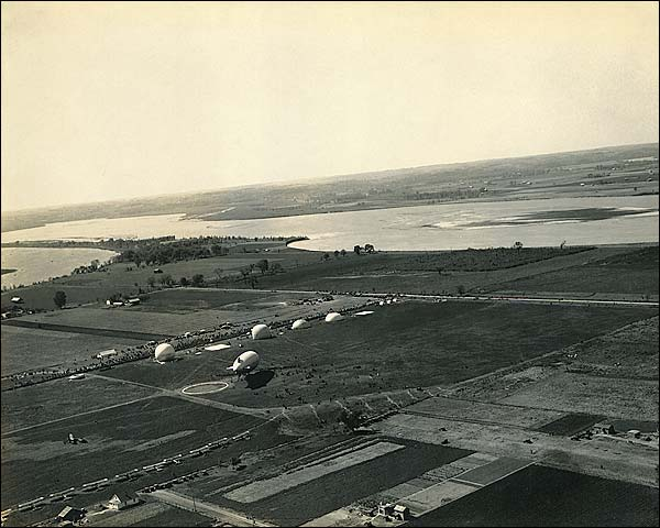 WWI Observation Balloons and Airship at Military Base Photo Print for Sale