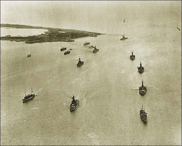 Aerial View of U.S. Navy Atlantic Fleet 1920 WWI Era Photo Print for Sale