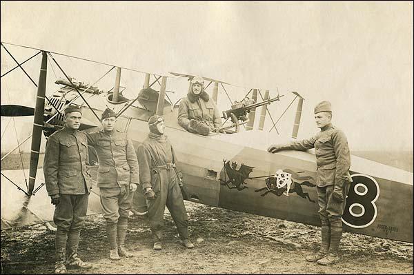 U.S. Air Crew with Biplane 1920 WWI Era Photo Print for Sale