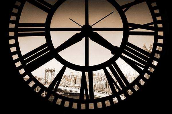 Manhattan Bridge through Clocktower NYC Photo Print for Sale