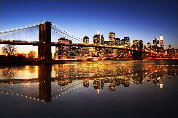 Brooklyn Bridge Dusk Photo Print for Sale
