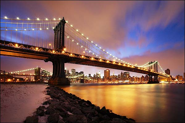Manhattan Bridge at Twilight New York City Photo Print for Sale