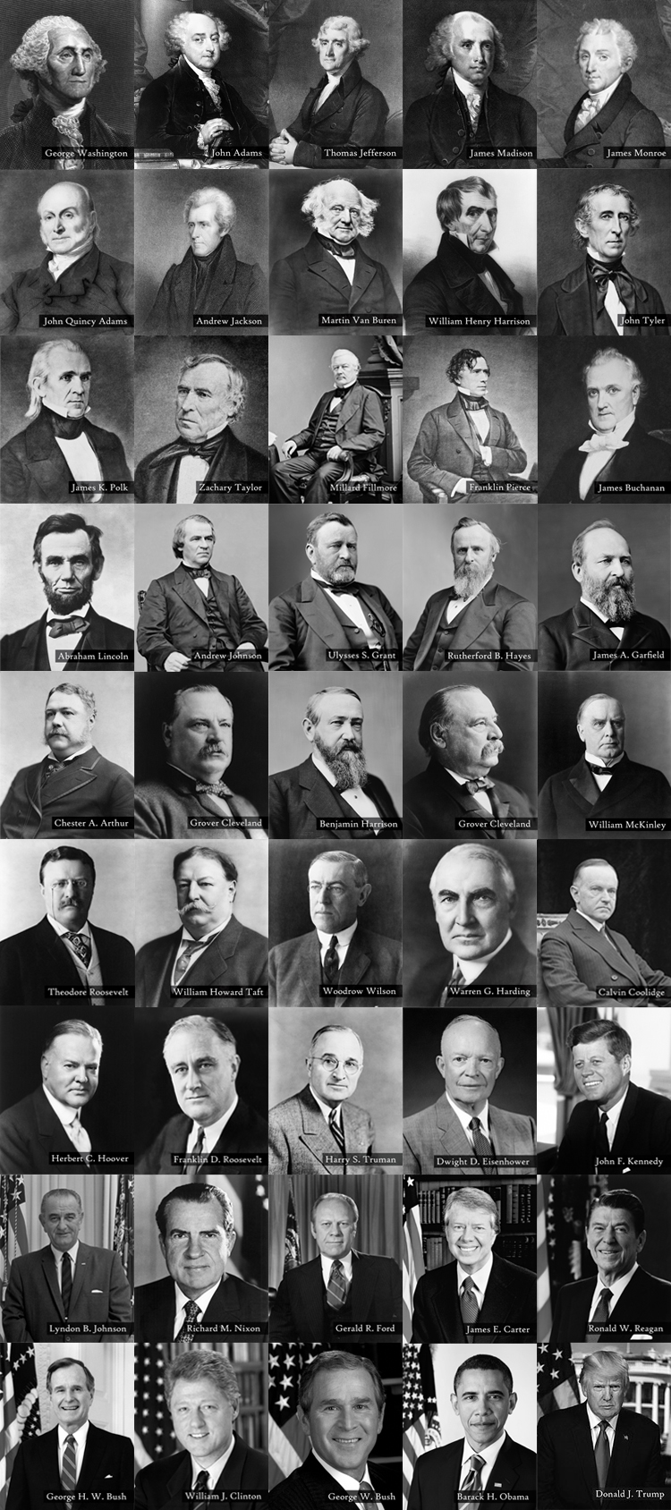 Official Presidential Photos Complete B&W Collection w/ Names Photo Prints For Sale