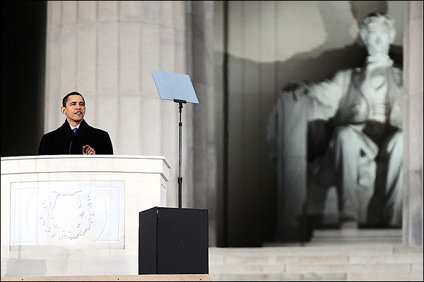 Barack Obama at the Lincoln Memorial in January 2009 Photo Print for Sale