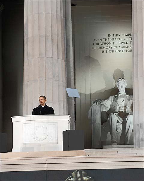 Barack Obama Speaks at Lincoln Memorial 2009 Photo Print for Sale