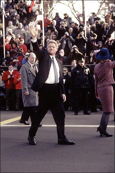 President Bill Clinton at Inaugural Parade 1997 Photo Print for Sale