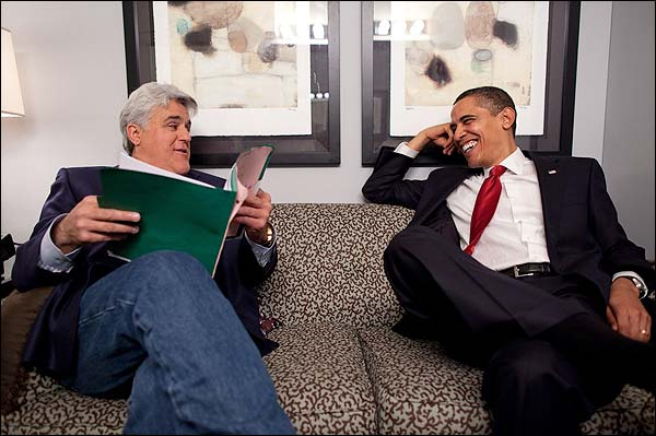 Barack Obama and Jay Leno Off Set at Tonight Show Photo Print for Sale