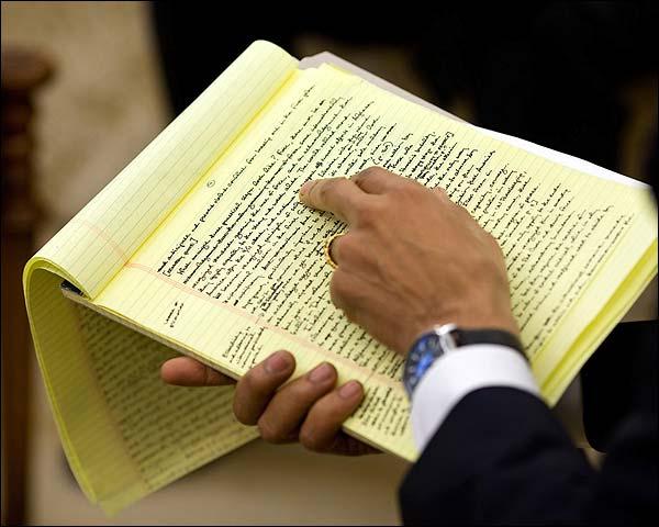 Handwritten Speech of President Barack Obama Photo Print for Sale