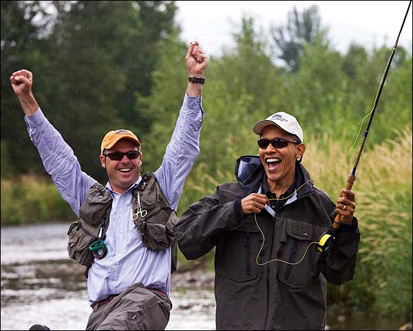 President Barack Obama Fly Fishing with Guide in Montana Photo Print for Sale