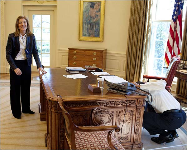 President Obama and Caroline Kennedy in the Oval Office Photo Print for Sale
