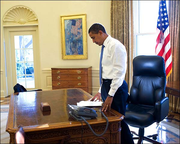 President Obama First Day in Oval Office Photo Print for Sale