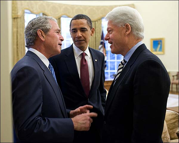 President Obama, Bush, and Clinton in Oval Office 2010 Photo Print for Sale