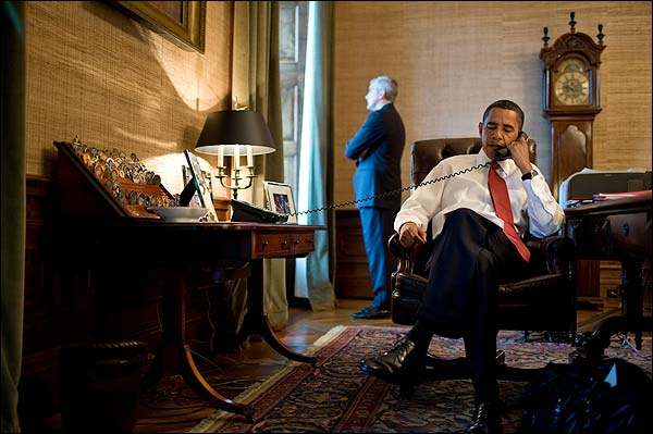 President Barack Obama Phone Call in Treaty Room Photo Print for Sale