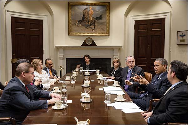 President Barack Obama with Congressional Hispanic Caucus Photo Print for Sale