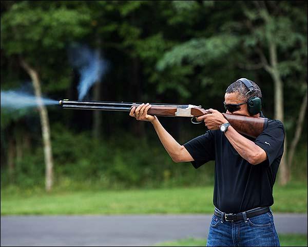 President Obama Skeet Shooting at Camp David 2012 Photo Print for Sale