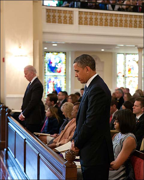 President Obama and Michelle at Inaugural Prayer Service Photo Print for Sale