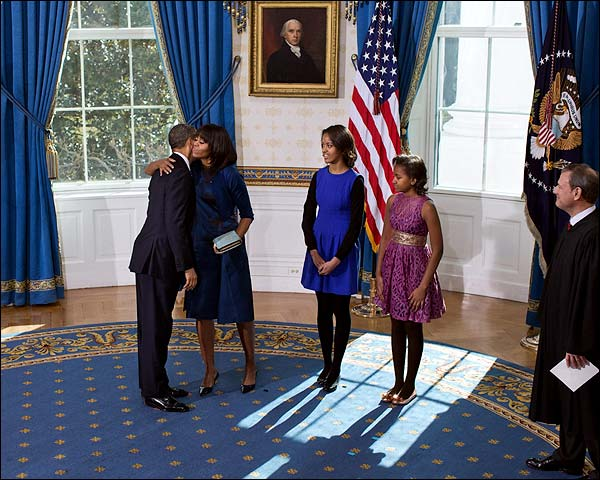 Obama Family at Official Swearing-In Ceremony 2013 Photo Print for Sale