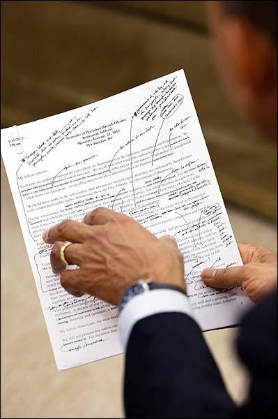 President Obama Works on Inaugural Address 2013 Photo Print for Sale