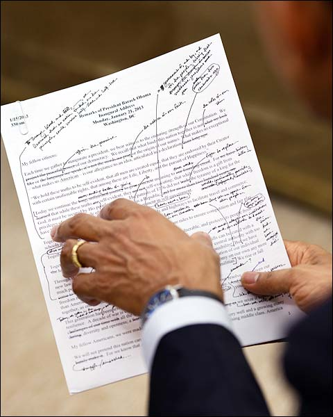 President Obama Works on Inaugural Address 2013 Photo Print for Sale