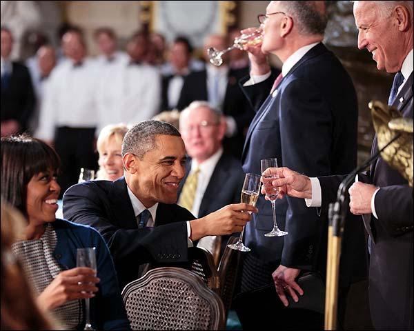 President Obama Toasts with Vice President Joe Biden Photo Print for Sale